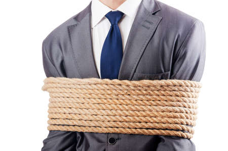 Man tied up with rope on white Stock Photo - 16835678