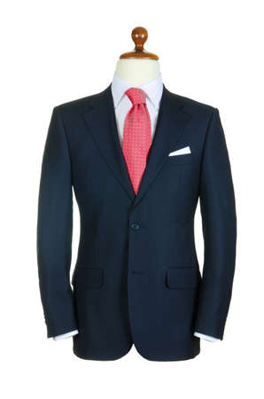tailored: Male clothinh suit on stand isolated white Stock Photo