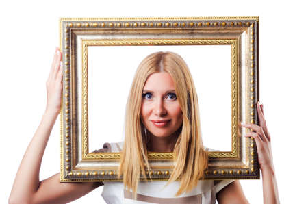 Woman with picture frame on white Stock Photo - 16942527
