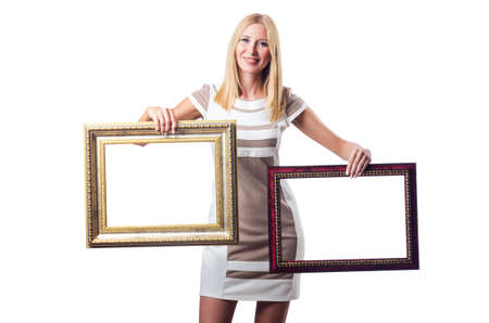 Woman with picture frame on white Stock Photo - 16942502