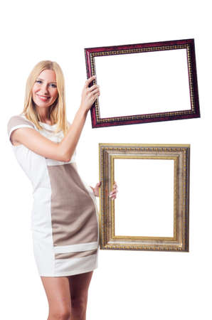 Woman with picture frame on white Stock Photo - 16942498
