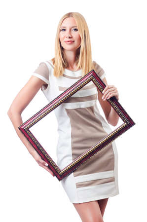 Woman with picture frame on white Stock Photo - 16942499