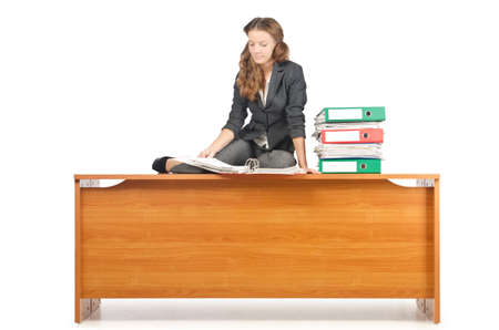 Busy businesswoman isolated on the white Stock Photo - 16942486