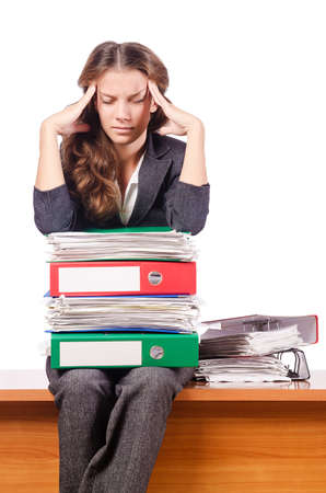 Businesswoman with lots of folders Stock Photo - 16942524