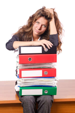Businesswoman with lots of folders photo