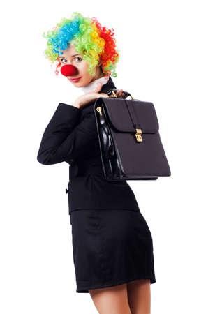 Businesswoman in clown costume on white Stock Photo - 16942485