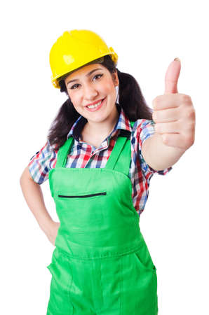 Female construction worker isolated on white Stock Photo - 16942506
