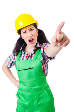 Female construction worker isolated on white Stock Photo - 16942510