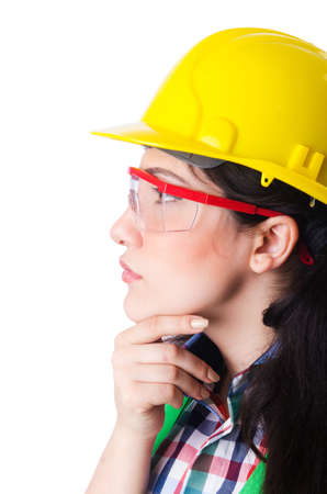 Female construction worker isolated on white Stock Photo - 16942497