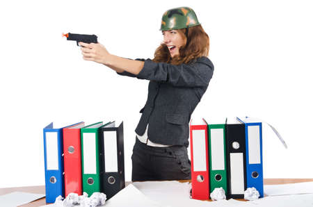 Office fight concept with female worker Stock Photo - 16942500