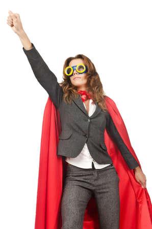 superwoman: Superwoman aislado en el blanco Foto de archivo