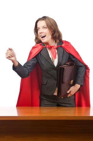 Superwoman isolated on the white Stock Photo - 16942517