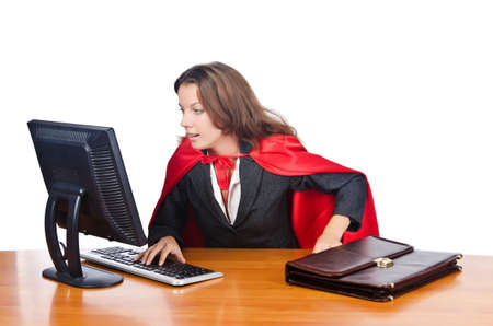 Superwoman worker working in office Stock Photo - 16942417