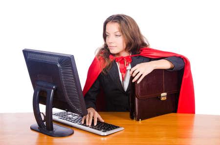 superwoman: Superwoman trabajador trabaja en la oficina Foto de archivo