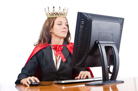 Superwoman worker with crown working in office Stock Photo - 16942513