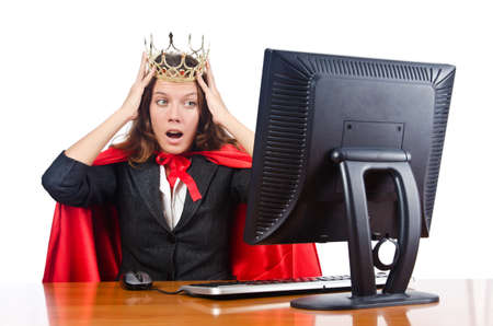 Superwoman worker with crown working in office Stock Photo - 16942514