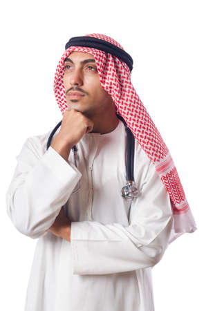 Arab doctor with stethoscope on white Stock Photo - 16942492