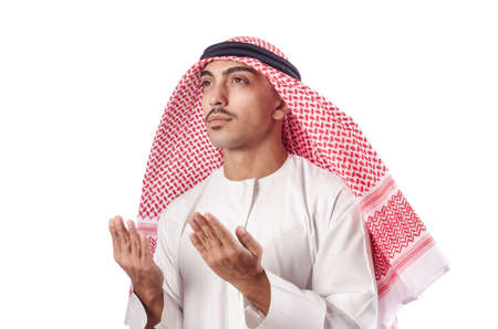 Arab man praying on white Stock Photo - 16942501