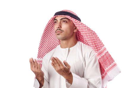 Arab man praying on white Stock Photo - 16942501