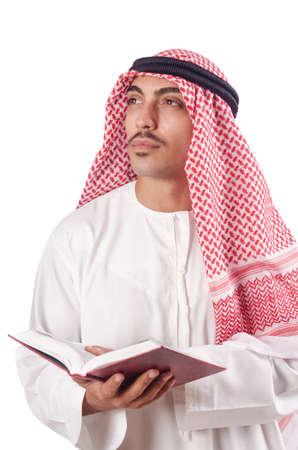 coran: Arab man praying on white