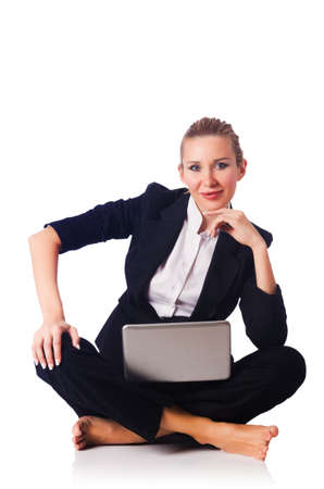 Woman businesswoman working on laptop Stock Photo - 16942468