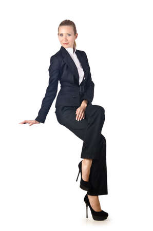 Woman businesswoman sitting on virtual wall Stock Photo - 16942444
