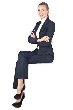 mujer sentada: Empresaria Mujer sentada en la pared virtual