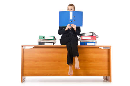 Businesswoman woman on the desk Stock Photo - 16891359