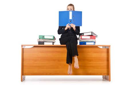 Businesswoman woman on the desk Stock Photo - 16891359