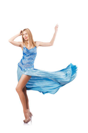 Attractive woman in blue dress on white Stock Photo - 16891374
