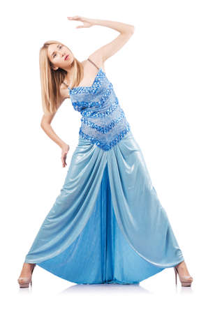 Attractive woman in blue dress on white Stock Photo - 16891360