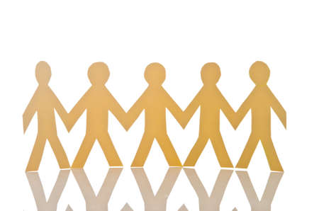 Teamwork concept with paper cut people Stock Photo - 16894638