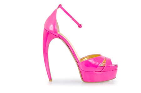 Pink stylish shoes isolated on white Stock Photo - 17367045