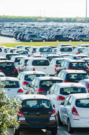 TUSCANY, ITALY - 27 June: New cars parked at distribution center in Tuscany, Italy. This one of biggest distribution centers in Italy. Stock Photo - 17356617