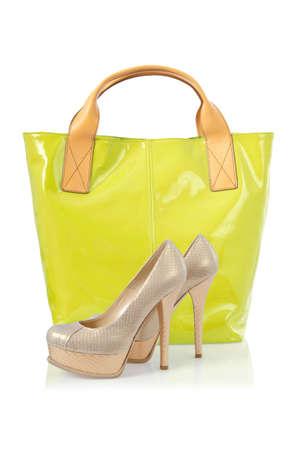Elegant bag and shoes on white Stock Photo - 17367664