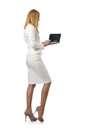 Attractive businesswoman with laptop on white Stock Photo - 17367047