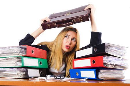 Busy woman with stacks of paper Stock Photo - 17389643