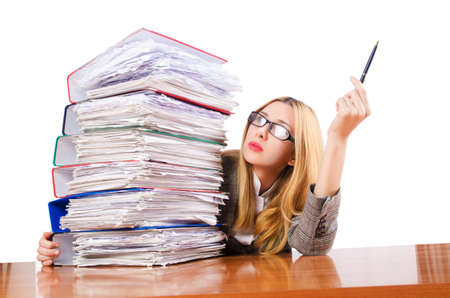 Busy woman with stacks of paper Stock Photo - 17390205