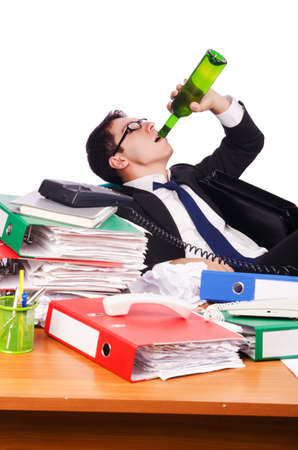 Young busy businessman at his desk Stock Photo - 17389641