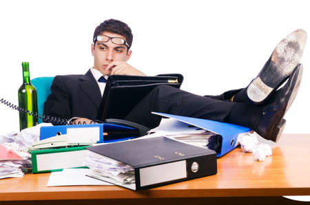 Young busy businessman at his desk Stock Photo - 17389638