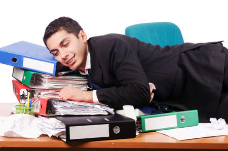 Young busy businessman at his desk Stock Photo - 17390213
