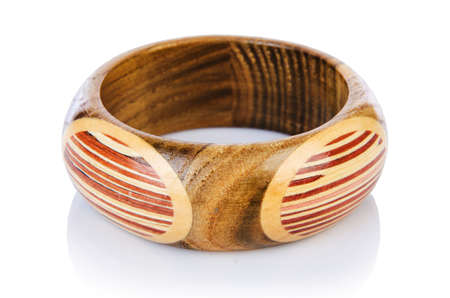 Wooden bracelet isolated on the white Stock Photo - 17368689