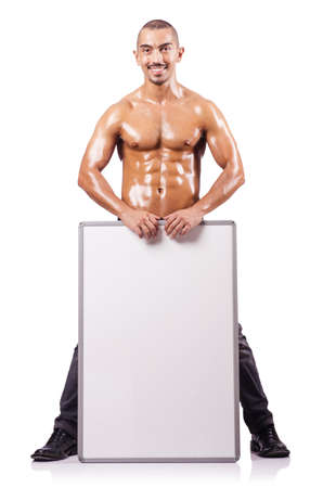 Naked man with blank board Stock Photo - 17389541