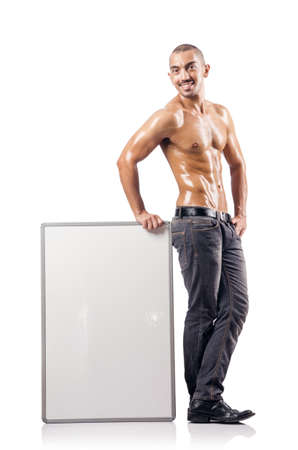 topless man with blank board Stock Photo - 17390188