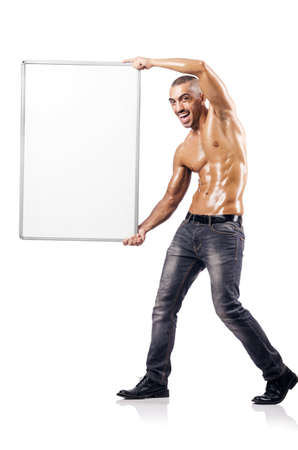 Half naked man with blank board Stock Photo - 17389134