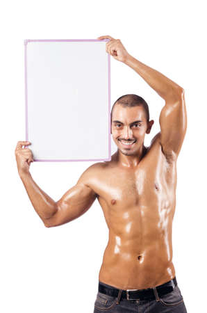 Half naked man with blank board Stock Photo - 17389589