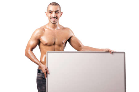 Half naked man with blank board Stock Photo - 17389177