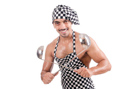 Sexy male cook isolated on the white Stock Photo - 17389558