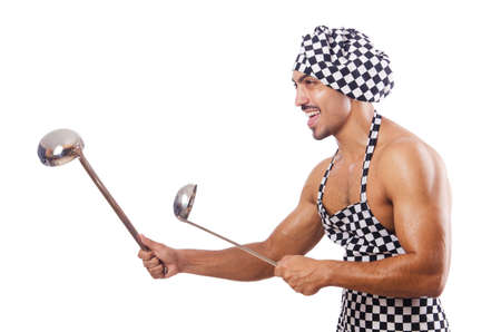 Sexy male cook isolated on the white Stock Photo - 17389269