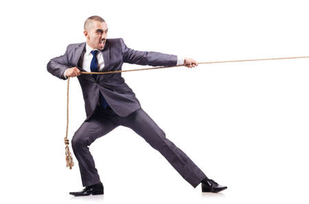 tug: Man in tug of war concept on white Stock Photo
